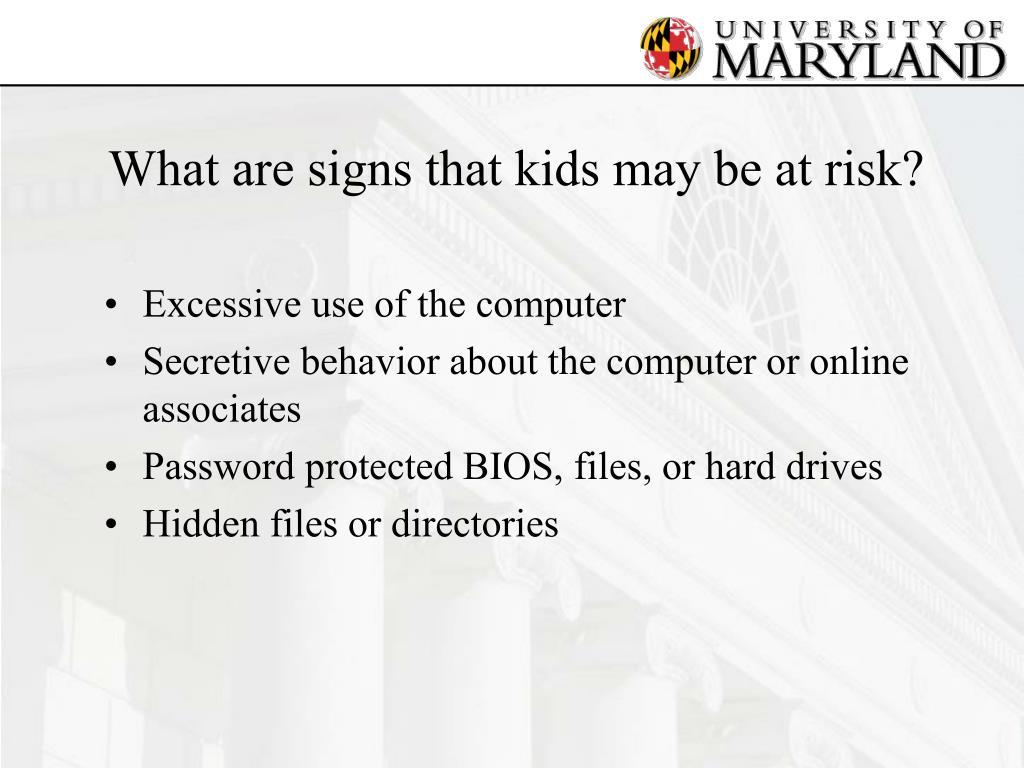 What are signs that kids may be at risk?