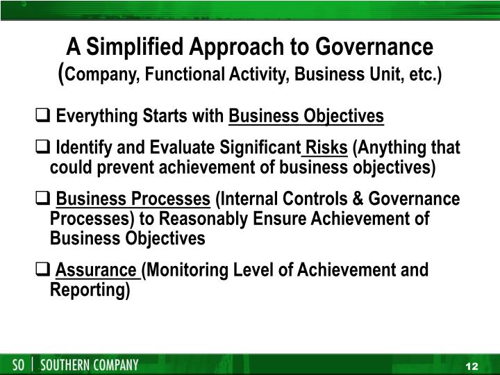 A Simplified Approach to Governance