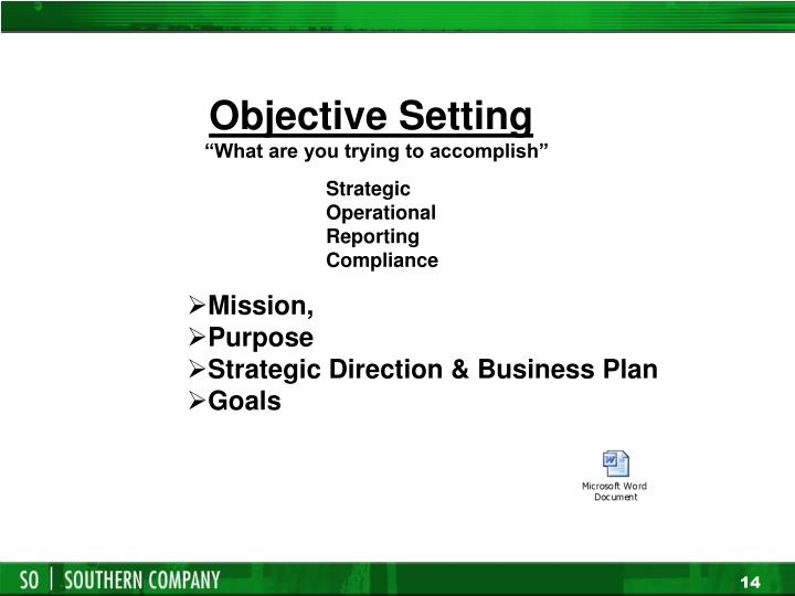Objective Setting