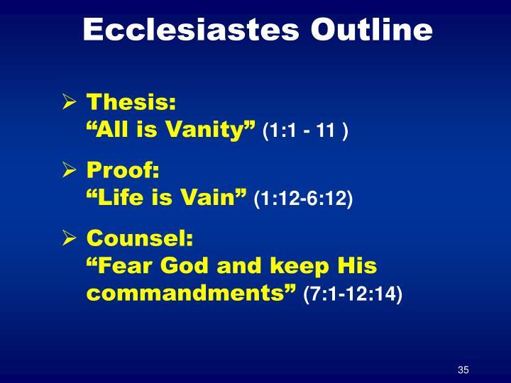 Ecclesiastes Outline