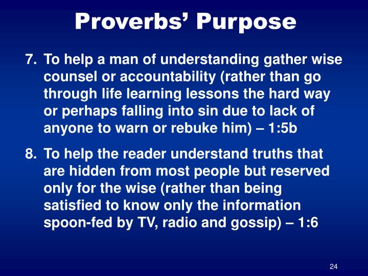 Proverbs' Purpose