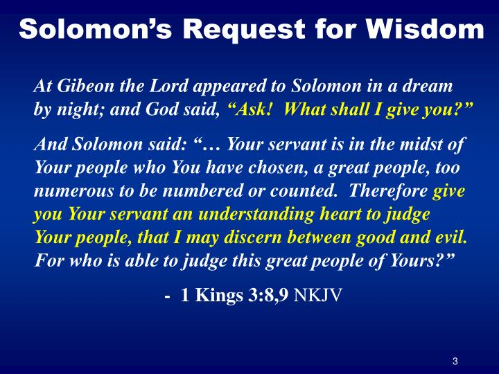 Solomon s request for wisdom
