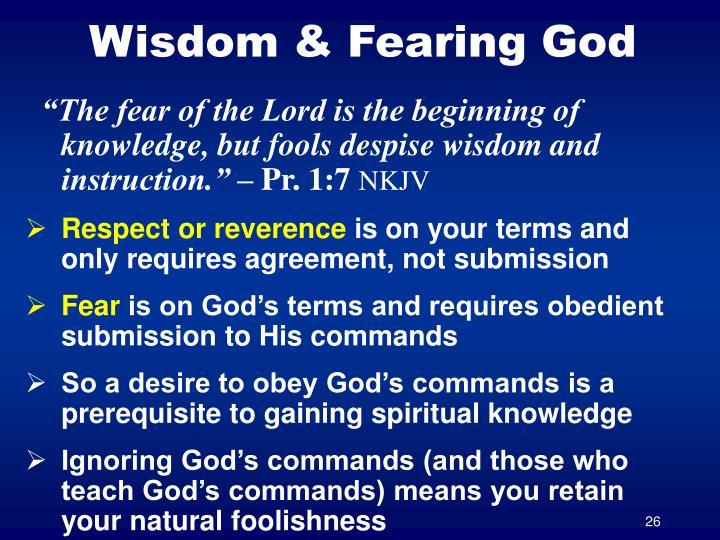 Wisdom & Fearing God