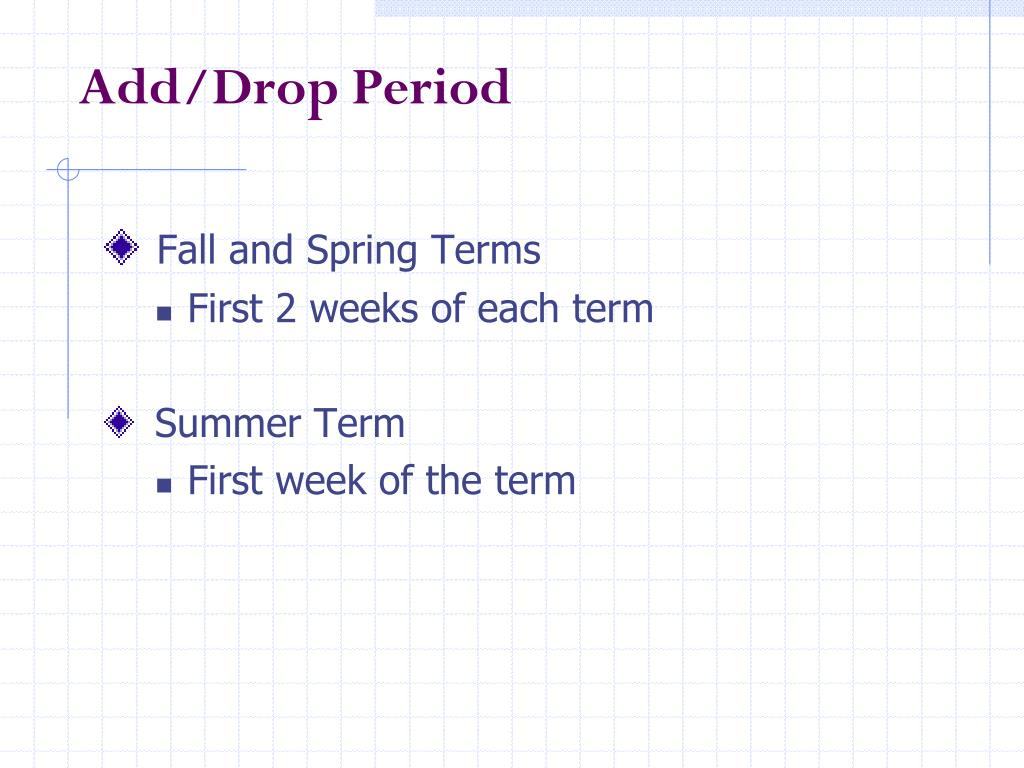 Add/Drop Period