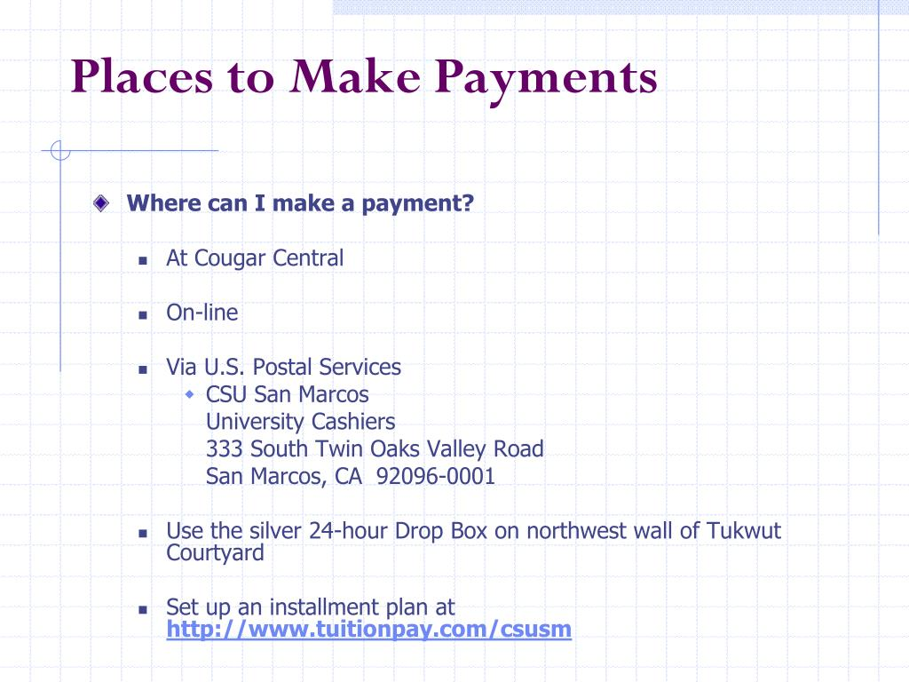 Places to Make Payments