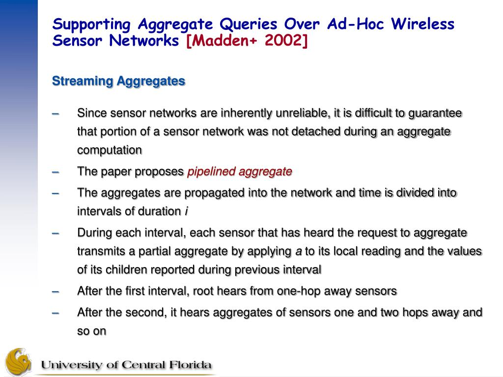 Supporting Aggregate Queries Over Ad-Hoc Wireless Sensor Networks