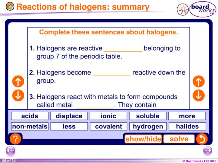 Reactions of halogens: summary