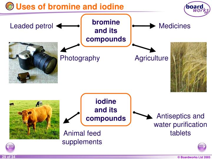 Uses of bromine and iodine