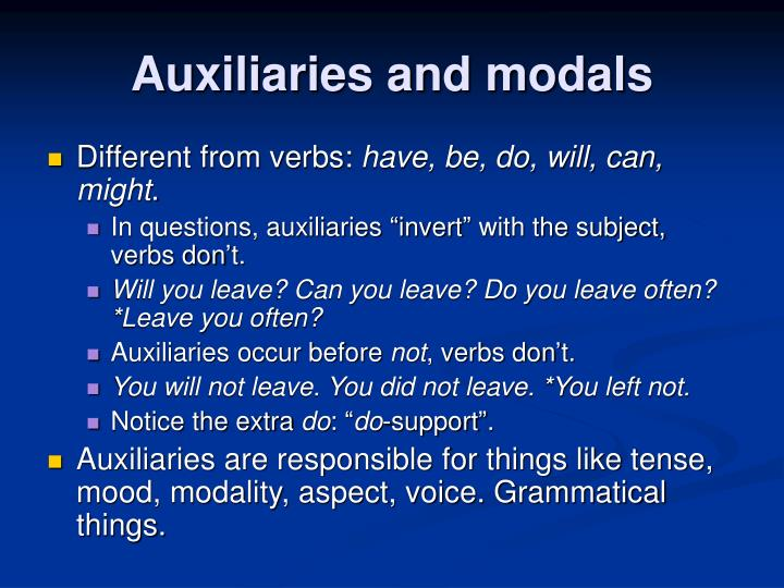 Auxiliaries and modals