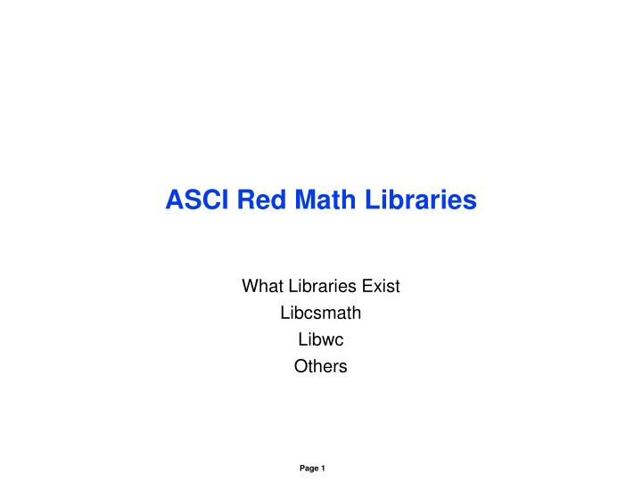 Asci red math libraries