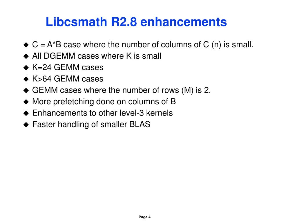 Libcsmath R2.8 enhancements