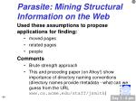 parasite mining structural information on the web44