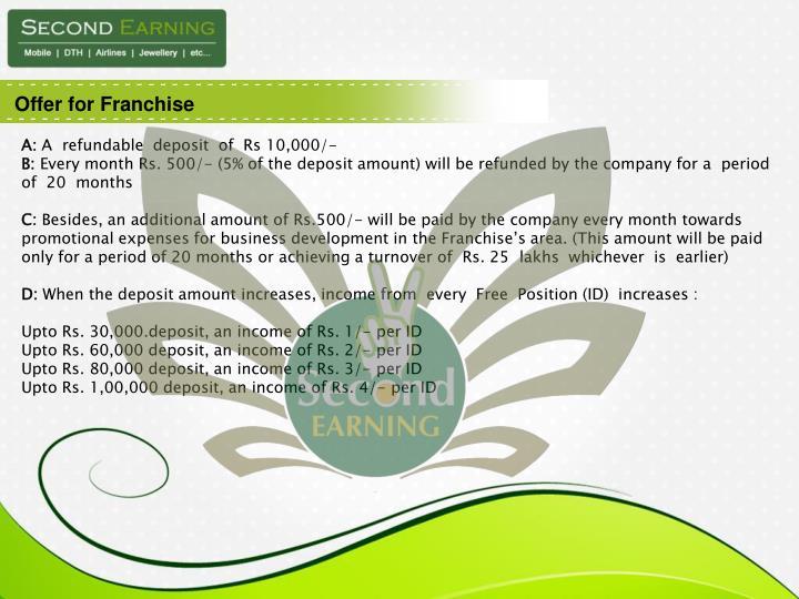 Offer for Franchise
