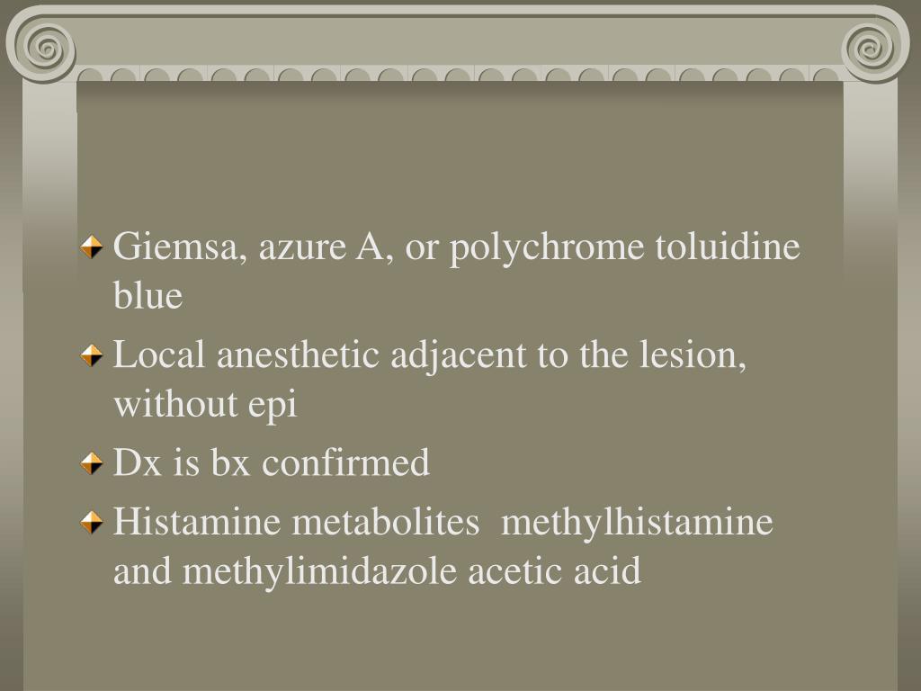 Giemsa, azure A, or polychrome toluidine blue