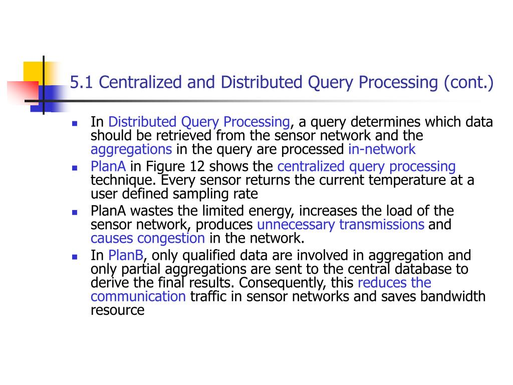 5.1 Centralized and Distributed Query Processing (cont.)