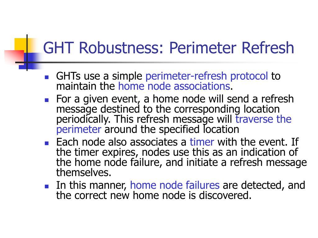 GHT Robustness: Perimeter Refresh