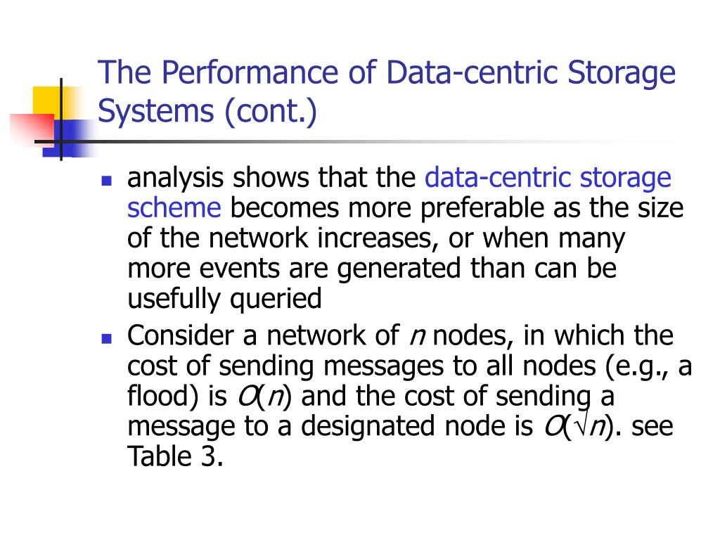 The Performance of Data-centric Storage Systems (cont.)