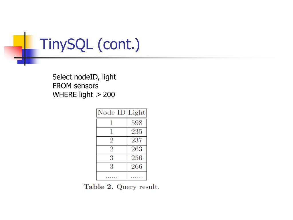 TinySQL (cont.)