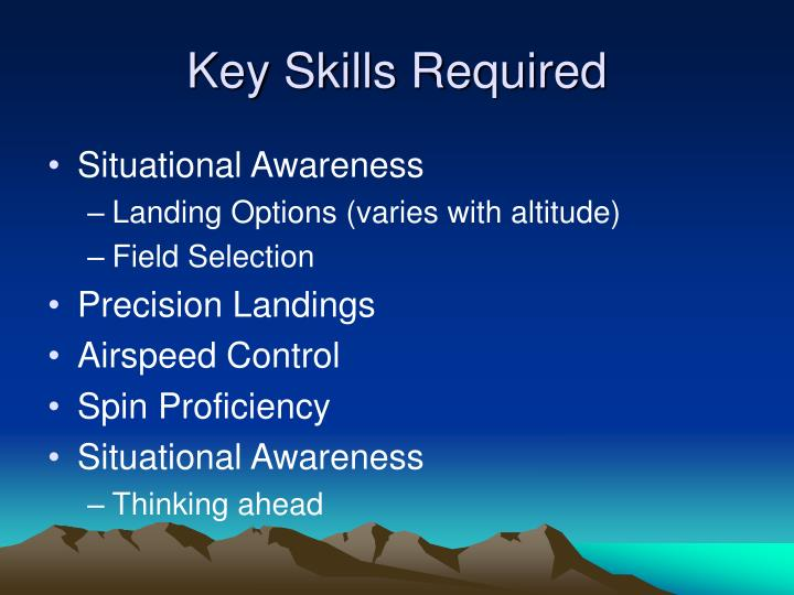 Key Skills Required