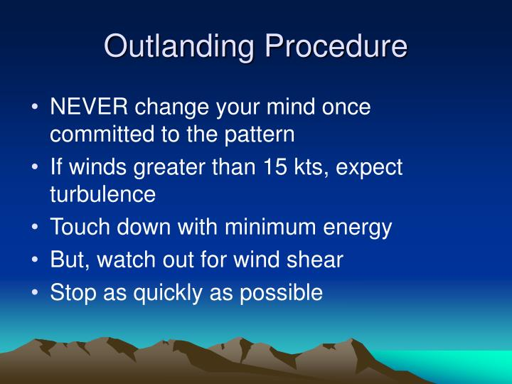 Outlanding Procedure