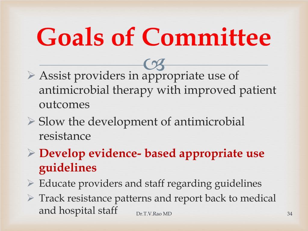 Goals of Committee