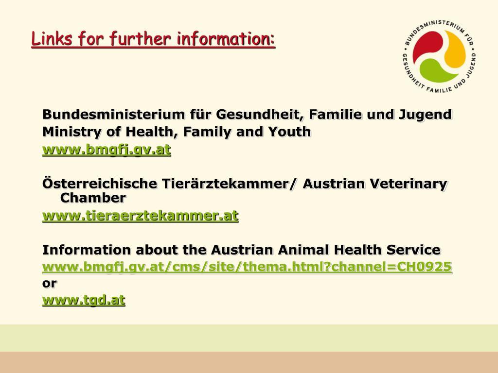 Links for further information:
