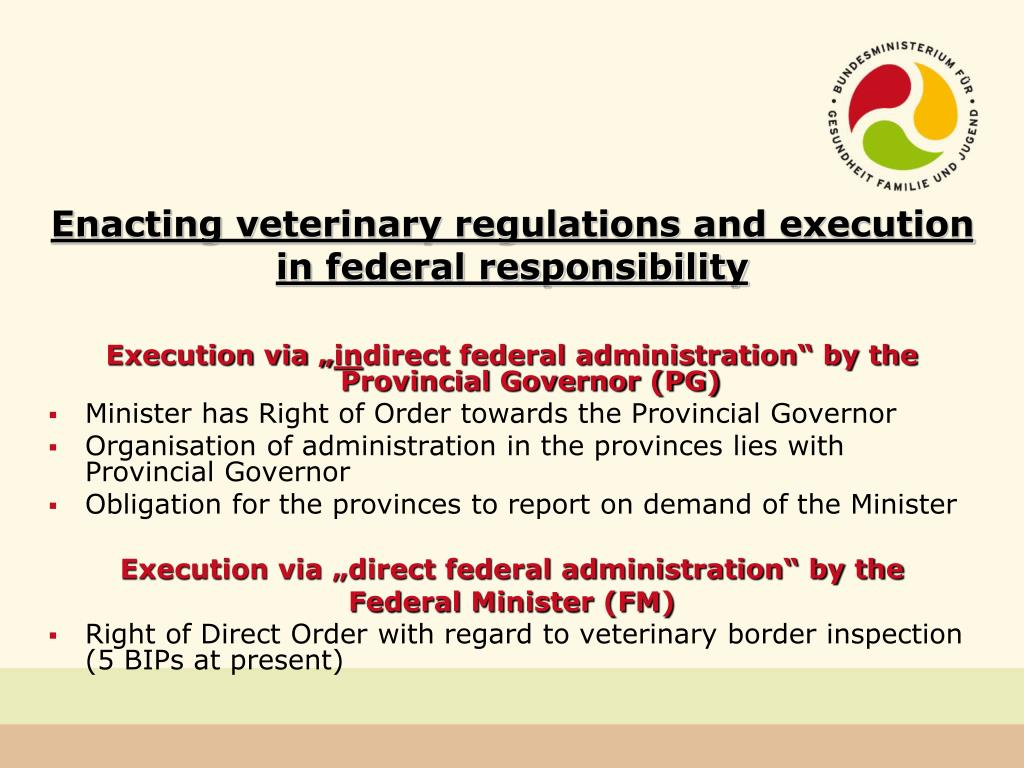 Enacting veterinary regulations and execution