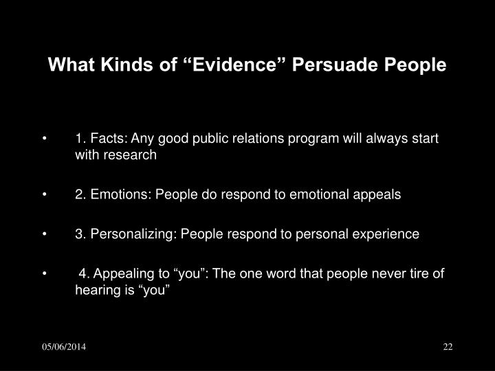 "What Kinds of ""Evidence"" Persuade People"