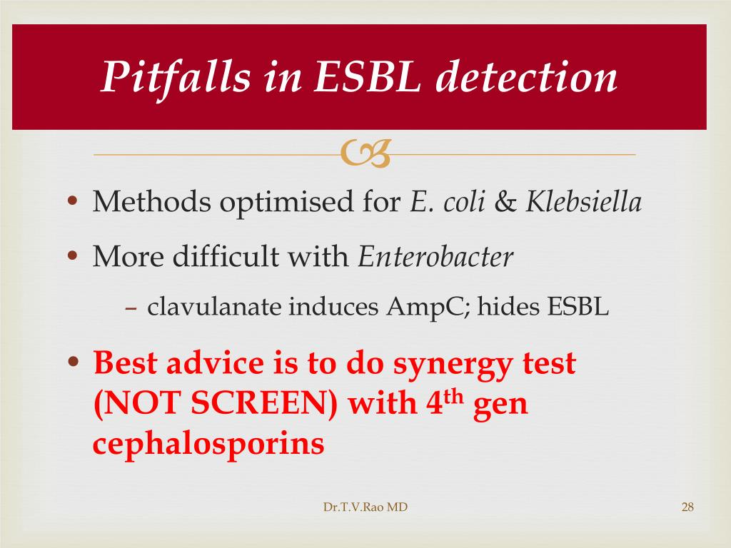 Pitfalls in ESBL detection
