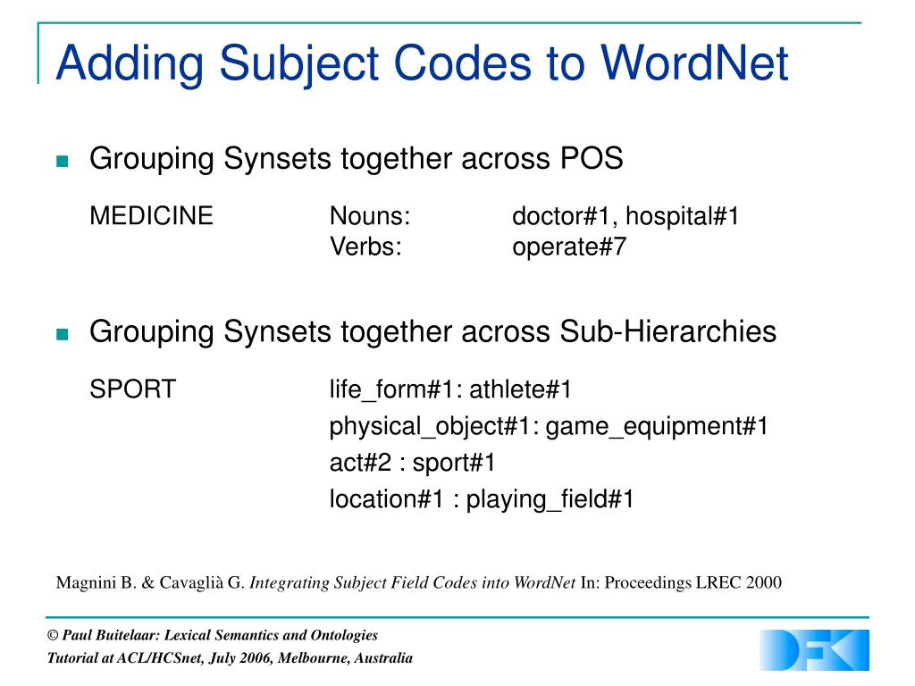 Adding Subject Codes to WordNet