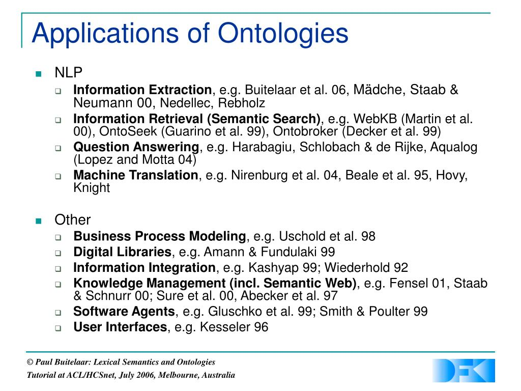 Applications of Ontologies