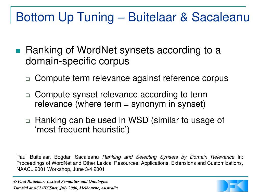 Bottom Up Tuning – Buitelaar & Sacaleanu