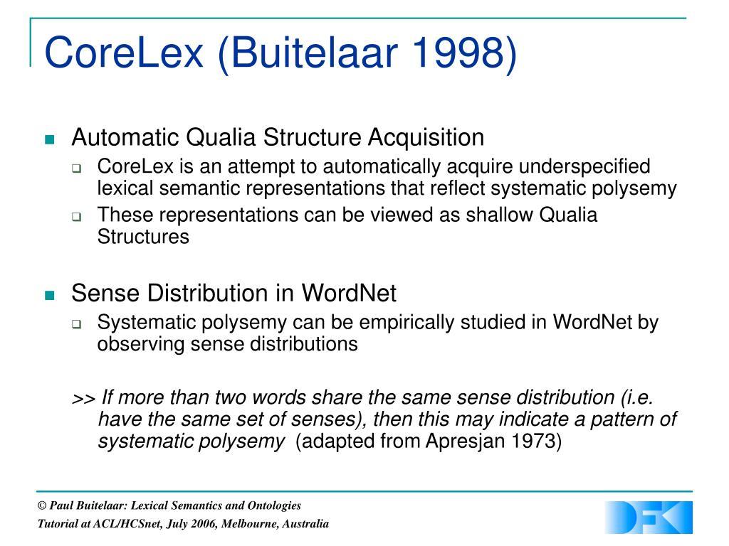 CoreLex (Buitelaar 1998)