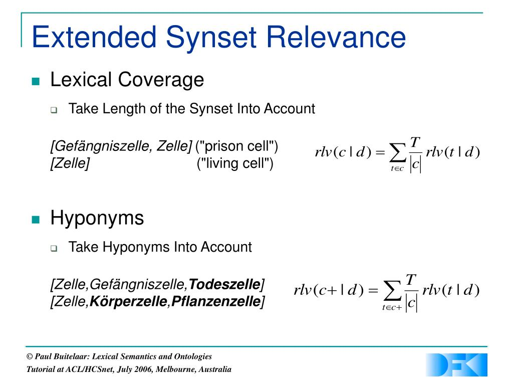 Extended Synset Relevance