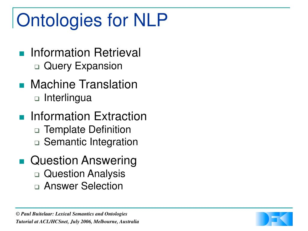 Ontologies for NLP