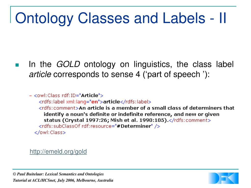 Ontology Classes and Labels - II