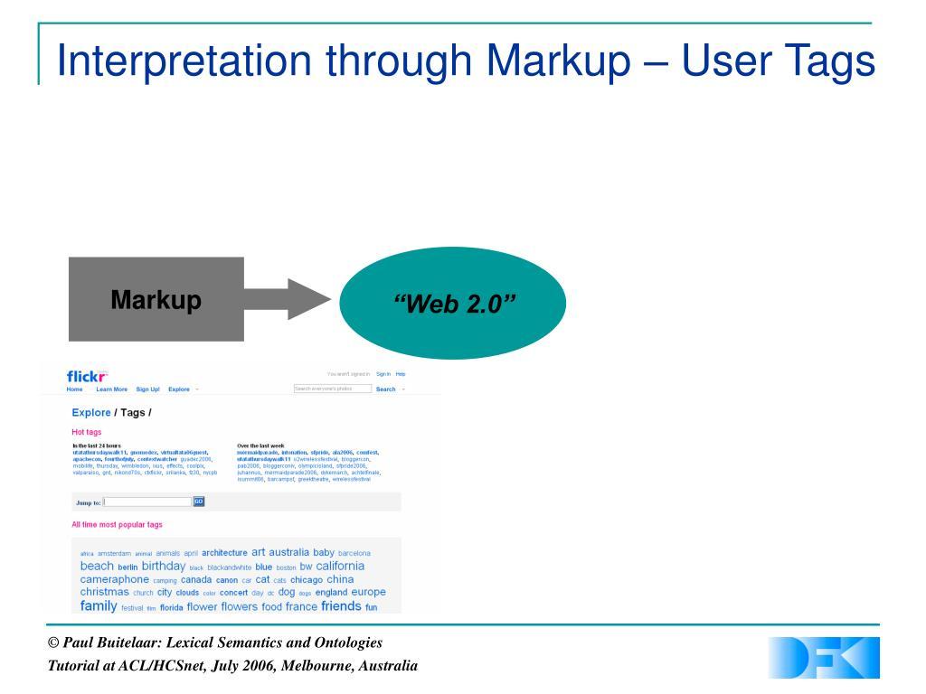 Interpretation through Markup – User Tags