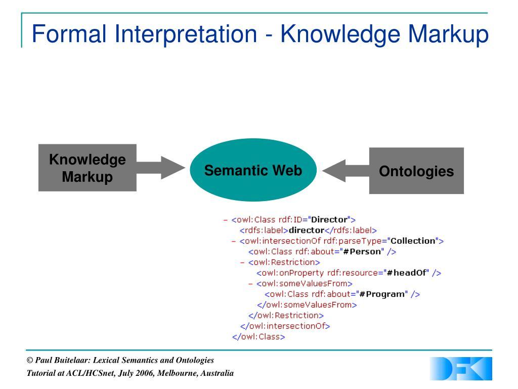 Formal Interpretation - Knowledge Markup