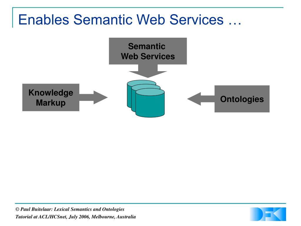 Enables Semantic Web Services …