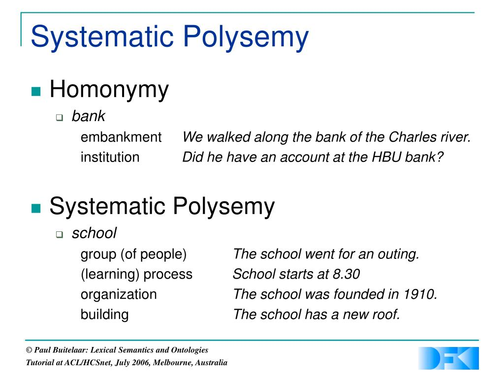 Systematic Polysemy