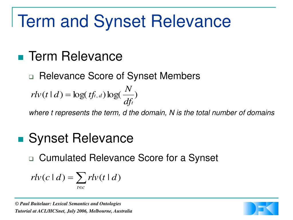Term and Synset Relevance