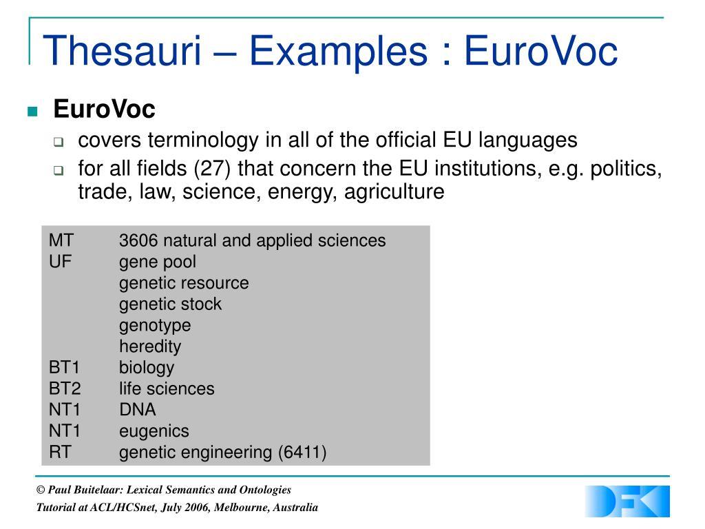 Thesauri – Examples : EuroVoc
