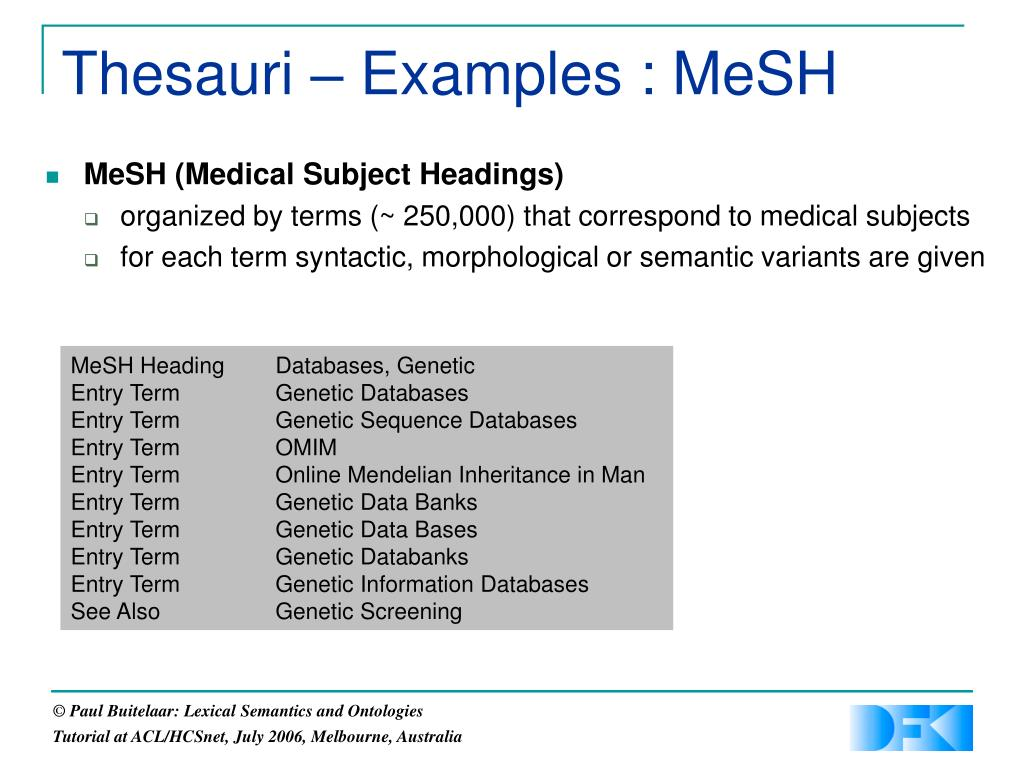 Thesauri – Examples : MeSH