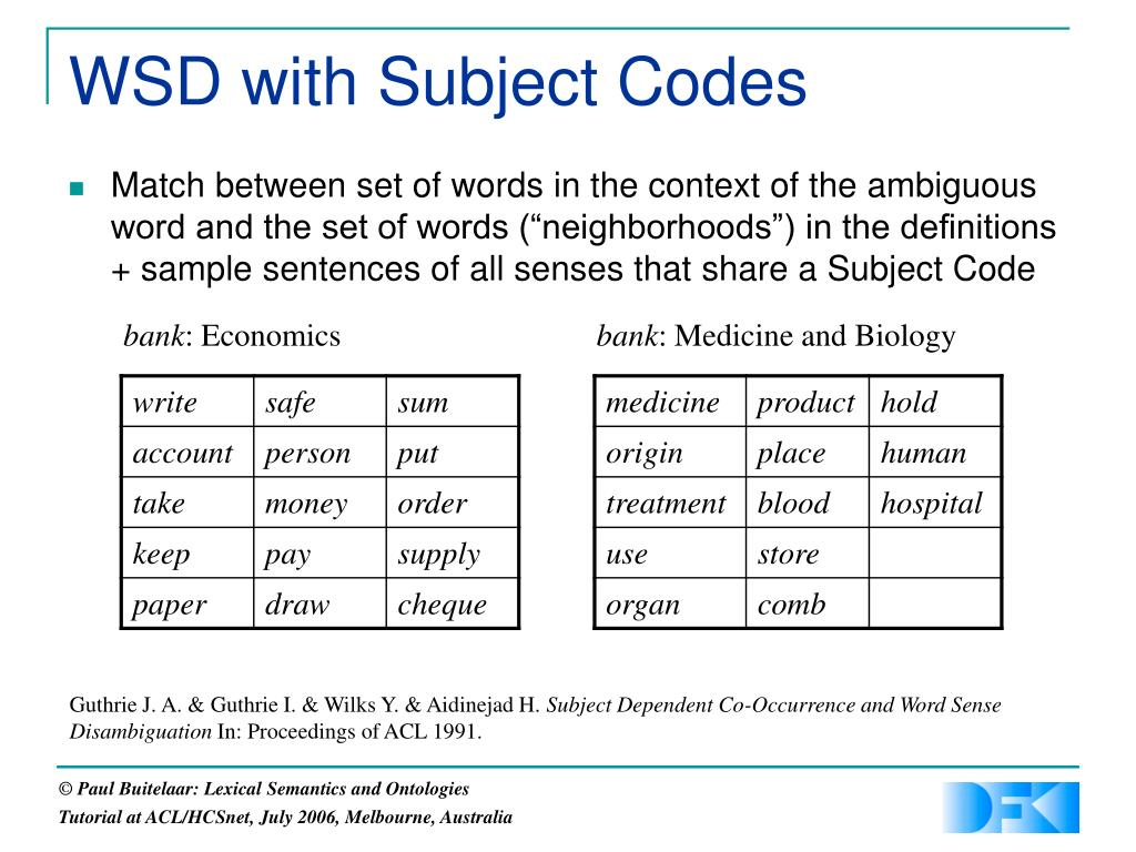 WSD with Subject Codes