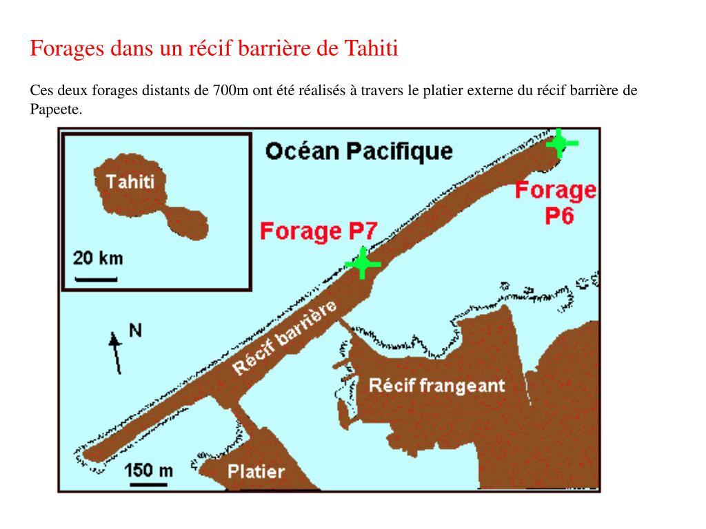 Forages dans un récif barrière de Tahiti