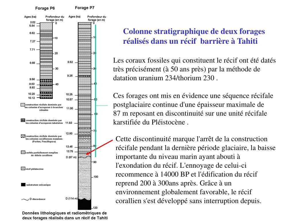 Colonne stratigraphique de deux forages réalisés dans un récif barrière à Tahiti