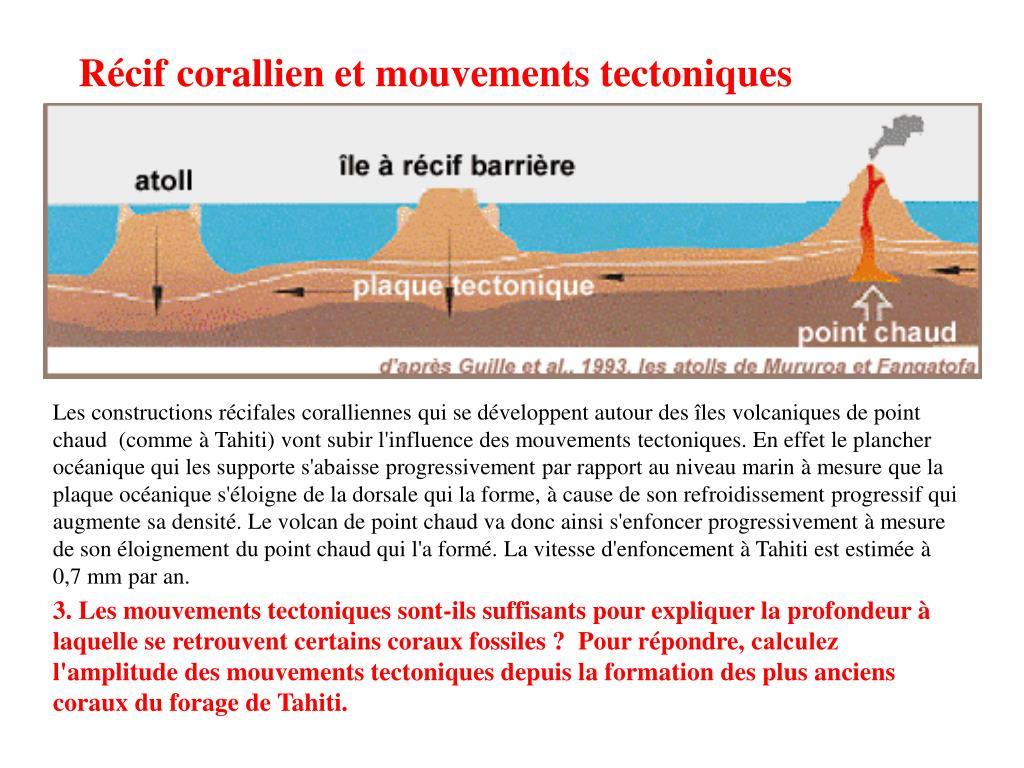 Récif corallien et mouvements tectoniques