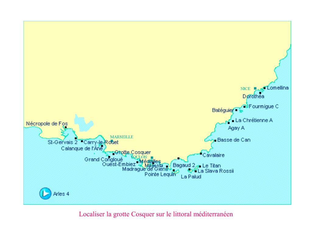Localiser la grotte Cosquer sur le littoral méditerranéen