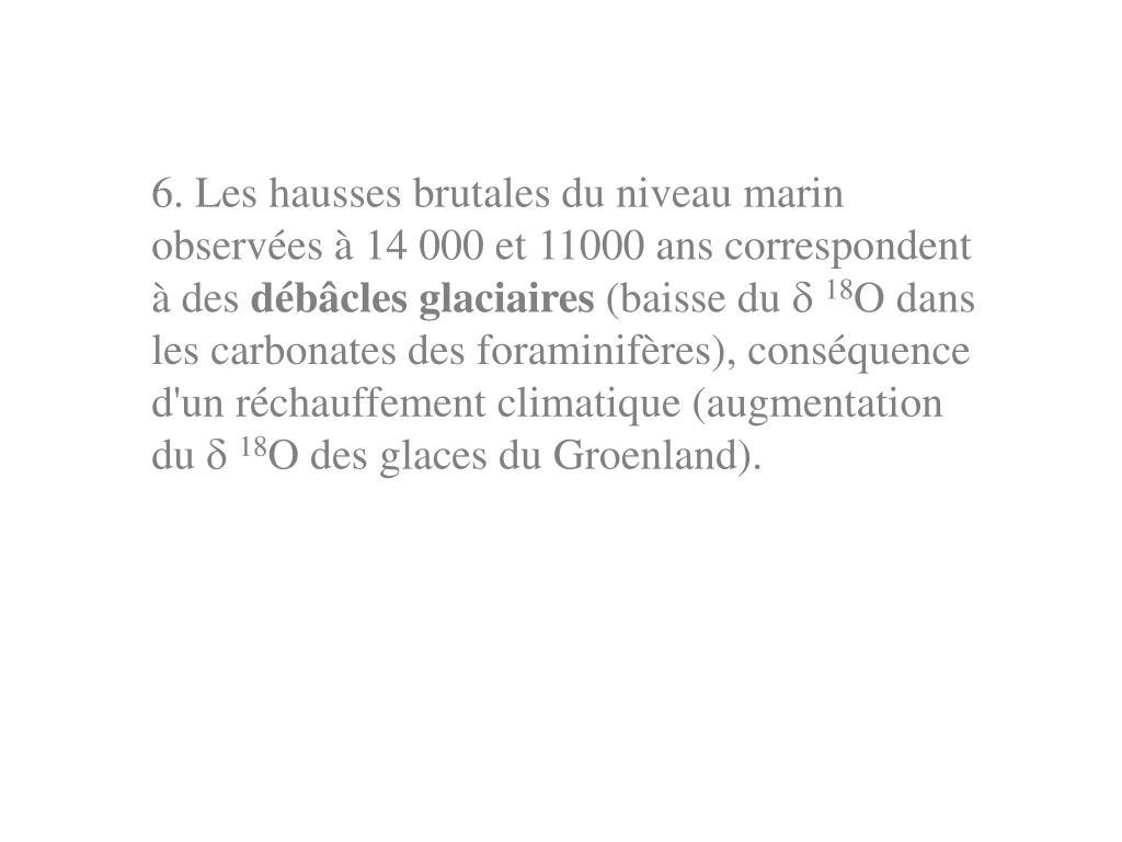 6. Les hausses brutales du niveau marin observées à 14 000 et 11000 ans correspondent à des
