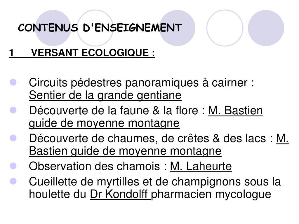 CONTENUS D'ENSEIGNEMENT